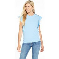 V by Very Eyelet Lace Up Frill Crepe Top - Baby Blue, Baby Blue, Size 18, Women