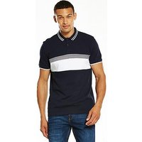 V by Very S/s Chest Block Polo Navy, Navy, Size S, Men