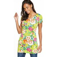 V by Very Floral Print Scuba Tunic, Floral Print, Size 12, Women