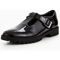 Clarks Agnes Meg Junior School Shoe, Black Patent, Size 6.5 Older