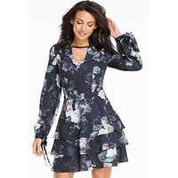 Michelle Keegan Printed Tiered Skirt Dress, Print, Size 8, Women