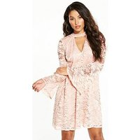 V by Very Lace Fluted Sleeve Swing Dress, Blush, Size 14, Women