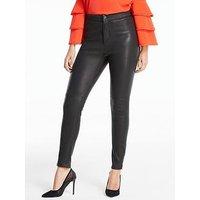 Michelle Keegan Premium Stretch Leather Ankle Grazer Trouser, Black, Size 12, Women