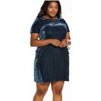 LOST INK CURVE Swing Dress In Velvet With Drape Pockets - Grey, Grey, Size 14, Women
