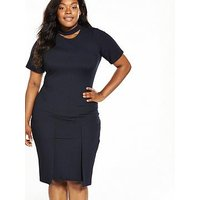 LOST INK CURVE Ribbed Bodycon Dress with Pockets, Navy, Size 16, Women