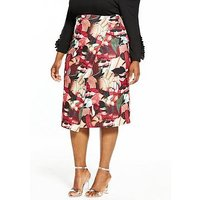LOST INK CURVE Collage Floral Pencil Skirt, Multi, Size 24, Women