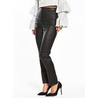 Lost Ink Petite Coated Skinny Trouser - Black, Black, Size 8, Women