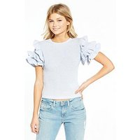 Lost Ink Petite Textured Ruffle Top - Blue, Blue, Size 8, Women