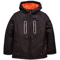 Boys, V by Very Padded Coat With Zip Detail, Black/Orange, Size Age: 9 Years