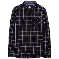 Boys, V by Very V by Very Check Brushed Long Sleeve Shirt, Blue, Size 10 Years