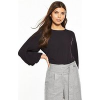 Lost Ink Pleated Sleeve Crop, Navy, Size 10, Women