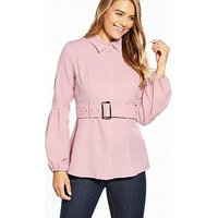 Lost Ink Rouched Belted Shirt - Pink, Pink, Size 16, Women