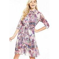 Lost Ink Printed Split Hem Shirt Dress - Pink, Pink, Size 10, Women
