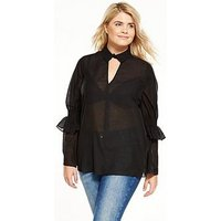 LOST INK CURVE Lost Ink Curve Smock Top With Shirred Sleeve, Black, Size 14, Women