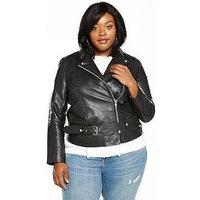LOST INK CURVE Premium Longline Leather Jacket - Black, Black, Size 18, Women