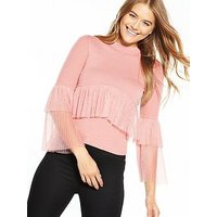Lost Ink Pleated 2 In 1 Jumper, Blush, Size 12, Women