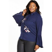 LOST INK CURVE Shirt with Embroidery, Navy, Size 16, Women