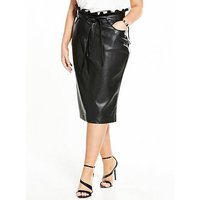 Lost Ink Curve Pencil Skirt In Pu With Paperbag Waist - Black