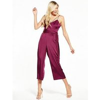 Lost Ink Satin Jumpsuit, Fuchsia, Size 14, Women