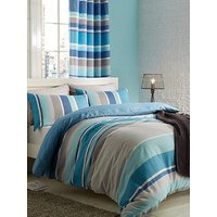 Catherine Lansfield Textured Stripe Duvet Cover Set - Teal