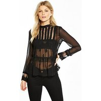 V by Very Petite Pleat and Embroidery Detail Blouse - Black, Black, Size 6, Women