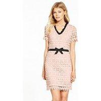 V by Very Petite Contrast Frill Lace Dress, Blush/Black, Size 12, Women