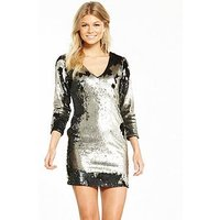 V by Very Petite Sequin Mini Dress, Metallic, Size 16, Women