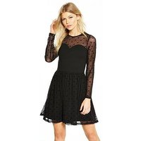 V by Very Petite SPOT MESH PONTE SKATER DRESS, Black, Size 6, Women