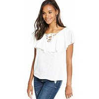 V by Very Frill Tie Up Front Top - White, White, Size 12, Women
