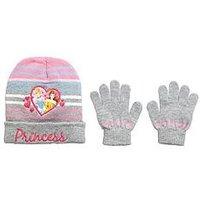 Disney Princess Disney Princess 2pc Beanie & Gloves, Light Grey, Size 52