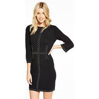 V by Very Stud Embellished Knitted Bodycon Dress, Black, Size 24, Women