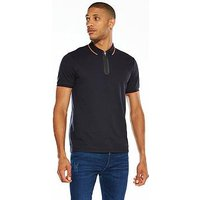 V by Very Tech Zip Tipped Polo, Navy, Size Xs, Men