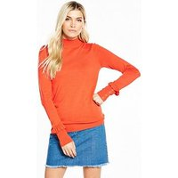 V by Very Frill Button Cuff Turtleneck Jumper - New Red, New Red, Size 12, Women