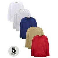 V by Very Pack of 5 Boys Long Sleeve T-Shirts, Multi, Size 8 Years