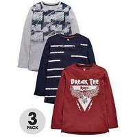 V by Very Pack of 3 Boys Long Sleeve T-Shirts, Multi, Size 12 Years