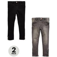 Mini V by Very Girls 2 Pack Side Zip Jeans With Stretch, Denim, Size Age: 6-9 Months, Women