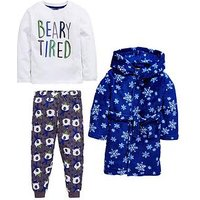 Mini V by Very Boys Fluffy Robe And Bear Pyjamas, Multi, Size Age: 4-5 Years