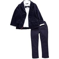 Mini V by Very Boys Velvet Jacket, Shirt and Jean Outfit, Navy, Size Age: 2-3 Years