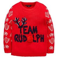 Mini V by Very Team Rudolph Boys Christmas Jumper, Multi, Size Age: 3-6 Months