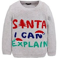 Mini V by Very Santa I Can Explain Boys Christmas Jumper, Multi, Size Age: 3-6 Months