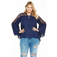 V by Very Curve Lace Yoke Fluted Sleeve Blouse - Navy, Navy, Size 28, Women