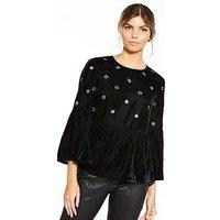 V by Very Mirror Velvet Top - Black , Black, Size 14, Women