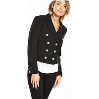 V by Very Military Crop Jacket - Black, Black, Size 10, Women