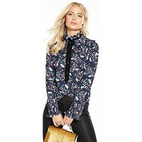 V by Very Pleated High Neck Blouse, Print, Size 14, Women