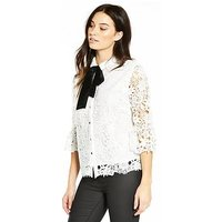 V by Very Velvet Tie Premium Lace Shirt, Ivory, Size 8, Women