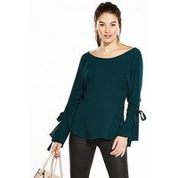 V by Very Ruched Sleeve Blouse, Green, Size 20, Women