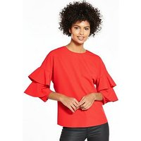 V by Very Ruffle Sleeve Blouse, Red, Size 16, Women
