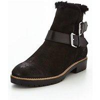 Dune London Persia Buckle Faux Fur Boot, Black, Size 8, Women