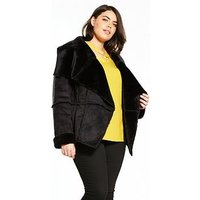 V by Very Curve Shearling Edge To Edge Coat - Black, Black, Size 16, Women