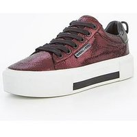 Kendall & Kylie tyler lace up trainer, Wine, Size 3, Women